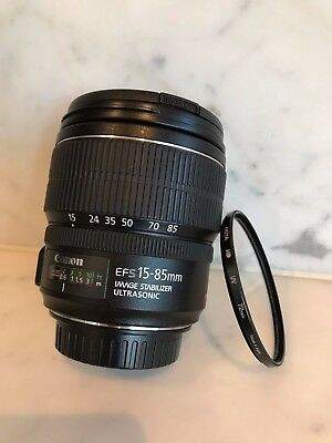 Canon EF-S 15-85mm f/3.5-5.6 IS USM zoom camera Lens w 72mm filter - near new