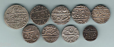 India. Collection of Silver Rupees. 18-19th C. Incs:Maratha,Sihk,Gwailor,Mysore