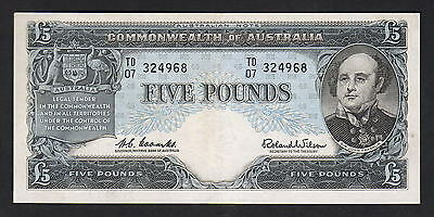 Australia R-50. (1960) 5 Pounds - Coombs/Wilson -  Reserve Bank.. gVF