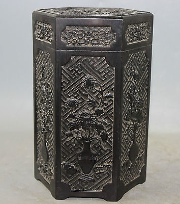 Chinese Wood made Carved Human Pot Poetry Hexagon Tea Caddy Box A2842