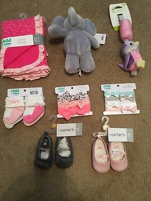 Newborn Baby girl Lot Socks Swaddle Blanket Shoes Toys Headwrap sets NWT carters