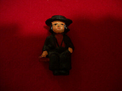 "Vintage Small Cast Iron Sitting Amish Man Figurine 2-1/8"" Tall"