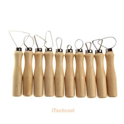 10 Pcs Wood Pottery Clay Sculpture Loop Tool with Stainless Steel Flat Wire #T1K