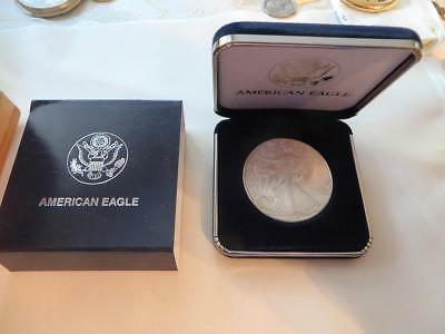 Gem Uncirculated 1996 Silver Eagle in Original Govt. Case,  Free USA Shipping