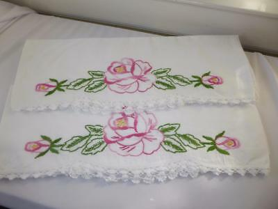 Pr Vtg Hand Embroidery Pink Roses W Hand Crocheted Lace Cotton Pillowcases # 2
