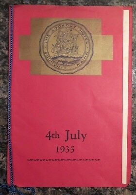 rare JULY 4th MENU 1935 THE LOOKOUT HOTEL Ogunquit MAINE food DINNER
