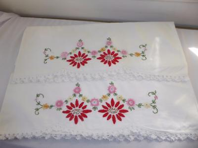 Pr Vtg Hand Embroidery Red Pink Flowers H Crocheted Lace Cotton Pillowcases # 6