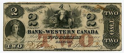 1859 $2 The Bank of Western Canada - Clifton, ONTARIO Note NO RESERVE!