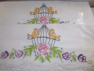 PR VTG HAND EMBROIDERY BIRD CAGE  w HAND CROCHETED LACE COTTON PILLOWCASES # 9
