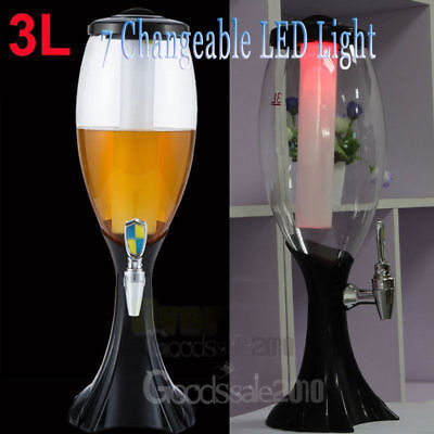 3L Cold Draft Beer Tower Juice Dispenser Plastic with LED Lights New Bar Party