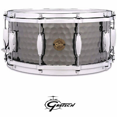 Gretsch Hammered Black Steel Shell 14 x 65 inch Snare Drum With Di-Cast Hoops