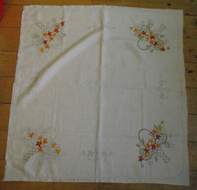 Vintage Semco Partly Embroidered Tablecloth - Flowers in a Basket Design