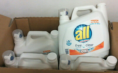 NEW CASE of 4 Bottles All Free & Clear OXI Liquid Detergent 141 oz $52