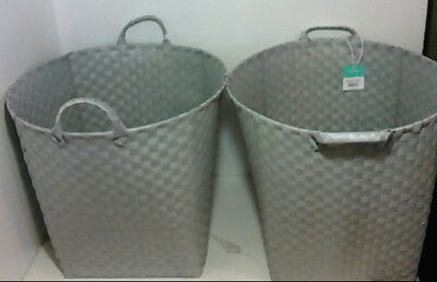 NEW CASE of 2 Pillowfort Round Woven Decorative Basket - Grey