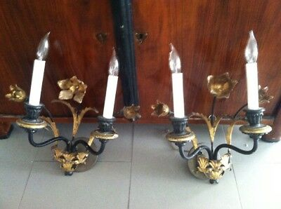 Antique Italian Tole And Wood Sconces Wired
