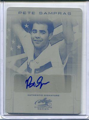 2017 Leaf Signature Series Pete Sampras Base Printing Plate Auto #ed 1/1
