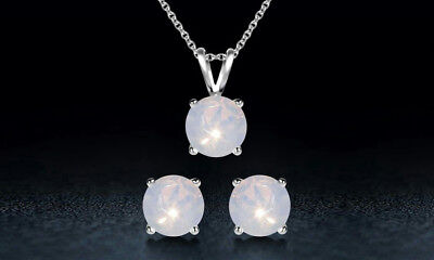 NEW Sterling Silver Genuine White Opal Necklace and Earrings Set $125