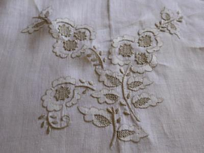 "Vintage Hand Embroidery Needlelace Fills Beige Linen  Tablecloth 104 "" L"