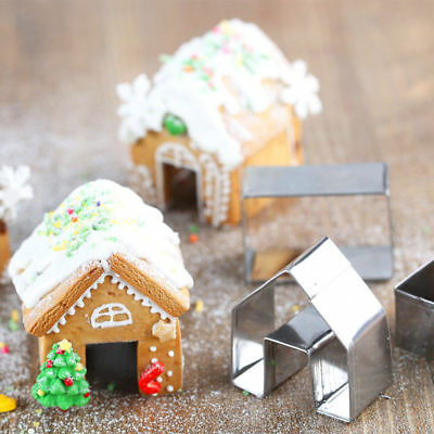 3Pcs Christmas Gingerbread House Stainless Steel Cookie Cutter Set Biscuit Mold