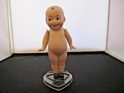 "Antique Original Bisque 5.5"" KEWPIE DOLL with Painted Shoes Unmarked with Stand"