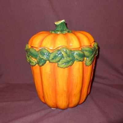 Pumpkin Leaves Cookie Jar Ceramic Department 56 Thanksgiving 10 inches Orange