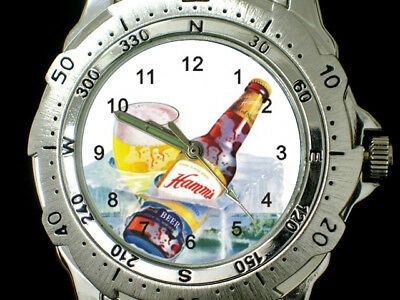 Hamms Beer Bottle Beverage Beer Drinks Round Stainless Steel Watches