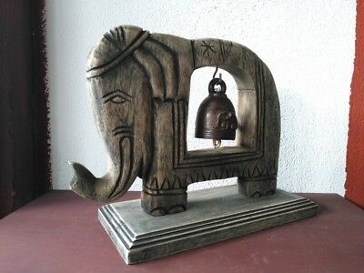 Vintage Thai Bell Buddha Temple Elephant Shaped Hanging Home Decor Collectible#2