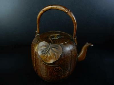 J1676: Japanese XF Old Persimmon-shaped COPPER BOTTLE Teapot Dobin