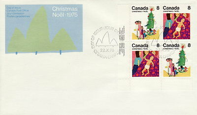 Canada #676-677 8¢ Family Christmas Ll Plate Block First Day Cover