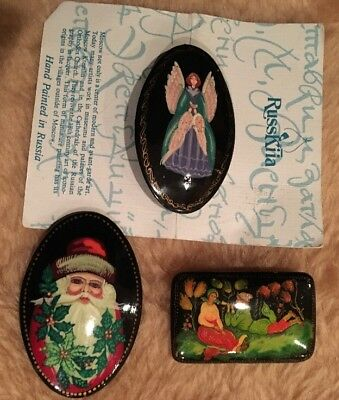 Vintage Russian Lot 3 Hand Painted Lacquer Brooch Pin Signed Santa Angel