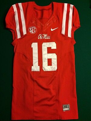University of Mississippi Ole Miss Rebels Game Worn Jersey Red#16 Nike FlyWire