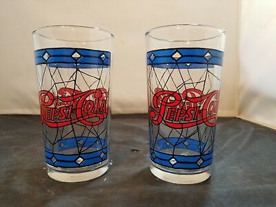 Pepsi Cola  stained glass glasses 2 pcs advertising vintage set
