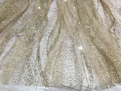 Gold Luxury Sequins Beads Lace Fabric Embroidery Tulle Wedding Dress