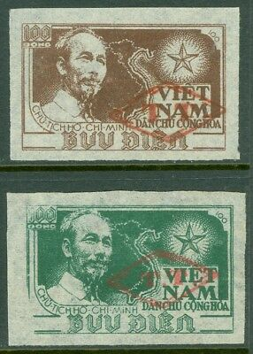 EDW1949SELL : VIETNAM NORTH Very Scarce set of 2 values Ovpt with Diamond & 'TT'