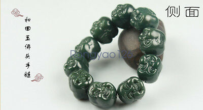 Natural Chinese hetian jade Manual sculpture maitreya Buddha bead bracelets