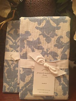 Pottery Barn JACQUARD LINEN,  Sham, Standard, set of Two New,  W/ $59.50 Each