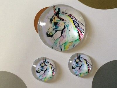 Set of 1x 25mm & 2 x 12mm Glass Dome Cabochon - Unicorn Horse Head