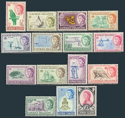 Cayman Islands 1959-1962, Set of 15 stamps, Animals, SG 165/79, SC 153/67, MNH