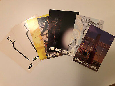 8 Vintage ABSOLUT Vodka Print Postcards. Kitty Hawk, Scrooge, Geneva, Rosebud