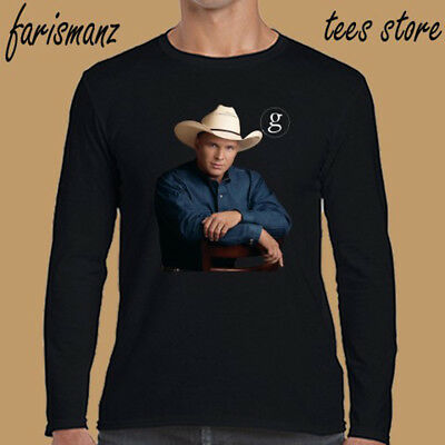 Garth Brooks American Country Singer Men's Long Sleeve Black T-Shirt Size S-3XL
