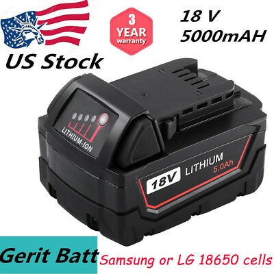 Replacement for Milwaukee 18V Battery 5.0AH Li-Ion for M18 18Volt  XC Power Tool
