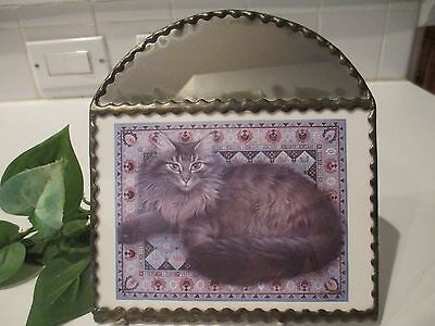 1989 RUSKIN Grey Long Hair CAT Mirror by:Lesley Anne Hand Crafted Ivory Postcard