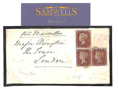 MS52 1855 CRIMEAN WAR Cover *TOWER OF LONDON* Soldiers Concession Rate GB SG.22