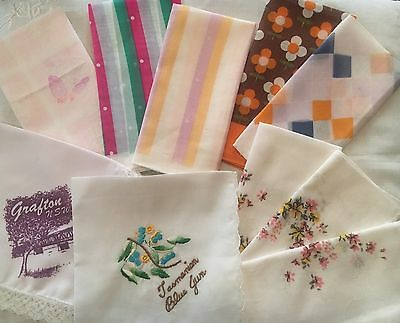 Bulk Lot Of 10 Vintage Handkerchiefs Prints Floral Retro Souvenir Tasmania