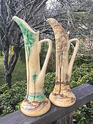 Pair Of 2 Antique Vintage Edward Radford Hand painted Tall Jug Vases Trees Rare