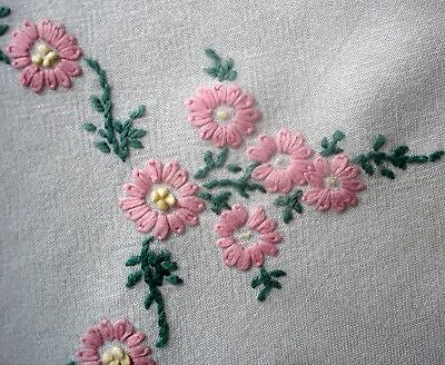 Vintage Hand Embroidered Circle of Pink Daisies Tablecloth