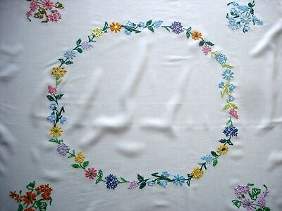Vintage Hand Embroidered Garden Flowers White Cotton Tablecloth