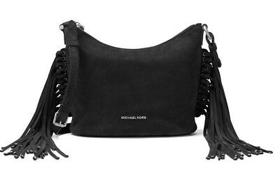 cc6827d4e78b New Michael Kors Billy Medium Fringe sides Messenger Bag Black suede tote