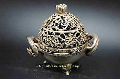 chinese dynasty palace Silver dragon pixiu beast statue incense burner censer AA