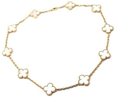 Van Cleef & Arpels 18k Yellow Gold 10 Mother Of Pearl Vintage Alhambra Necklace